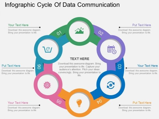 Infographic Cycle Of Data Communication Powerpoint Template