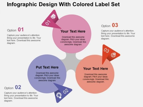 Infographic Design With Colored Label Set Powerpoint Templates