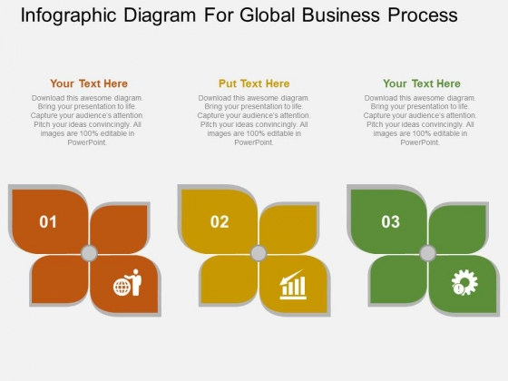 Infographic Diagram For Global Business Process Powerpoint Template