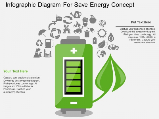 Infographic Diagram For Save Energy Concept PowerPoint Template