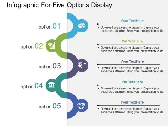 Infographic For Five Options Display Powerpoint Template