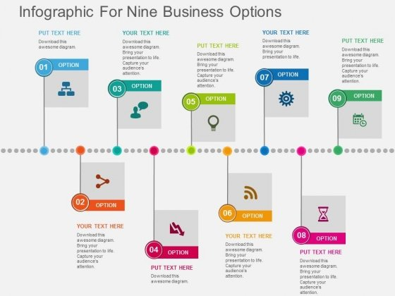 Infographic For Nine Business Options Powerpoint Templates