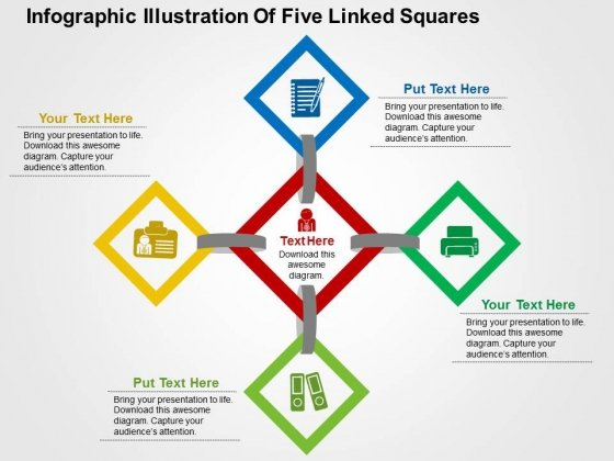 Infographic Illustration Of Five Linked Squares Powerpoint Templates