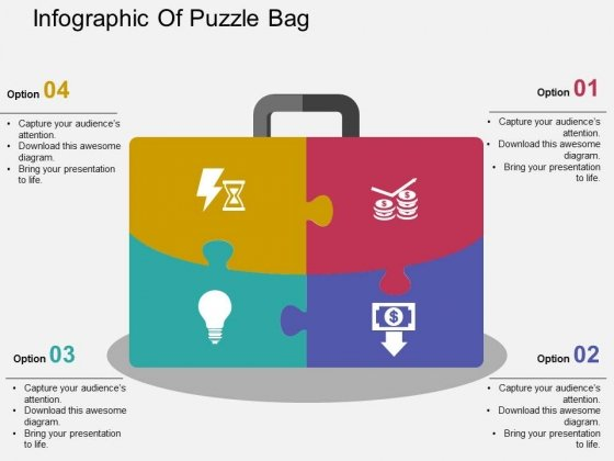 Infographic Of Puzzle Bag Powerpoint Templates