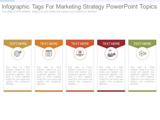 Infographic Tags For Marketing Strategy Powerpoint Topics