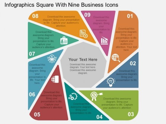 Infographics Square With Nine Business Icons Powerpoint Templates