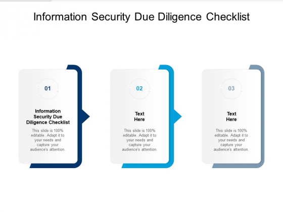 Information Security Due Diligence Checklist Ppt PowerPoint Presentation Ideas Graphics Download Cpb