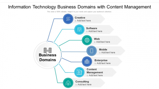 Information Technology Business Domains With Content Management Ppt Styles Structure PDF