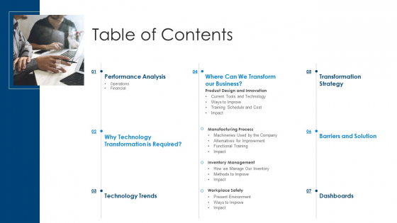 Information Technology Transformation Organization Table Of Contents Ppt Ideas Background PDF