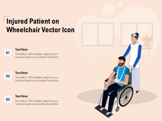 Injured Patient On Wheelchair Vector Icon Ppt PowerPoint Presentation Portfolio Guidelines PDF