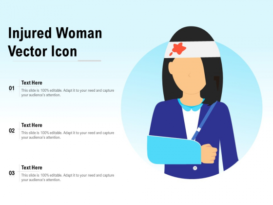 Injured Woman Vector Icon Ppt PowerPoint Presentation Slides Deck PDF