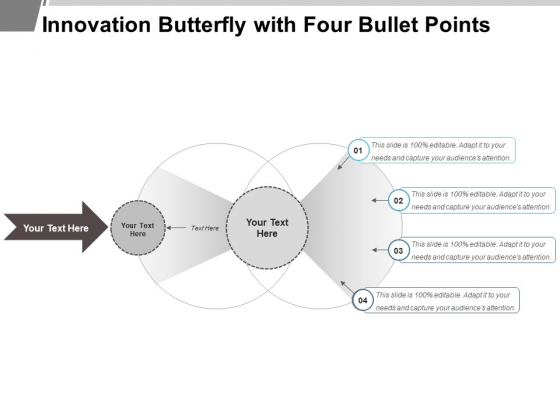 Innovation Butterfly With Four Bullet Points Ppt PowerPoint Presentation Inspiration Sample PDF