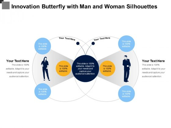 Innovation Butterfly With Man And Woman Silhouettes Ppt PowerPoint Presentation Inspiration Ideas PDF