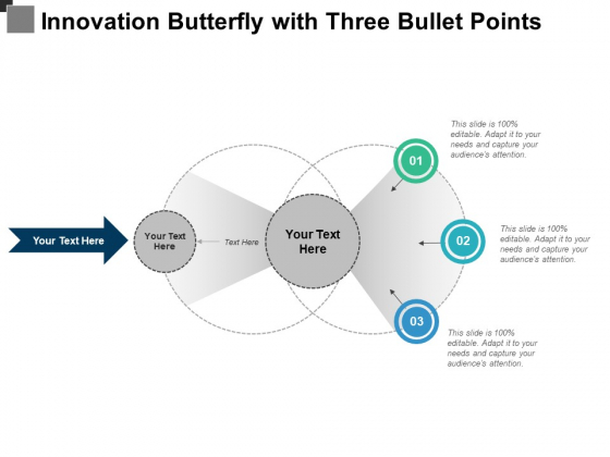 Innovation Butterfly With Three Bullet Points Ppt PowerPoint Presentation Infographic Template Maker PDF