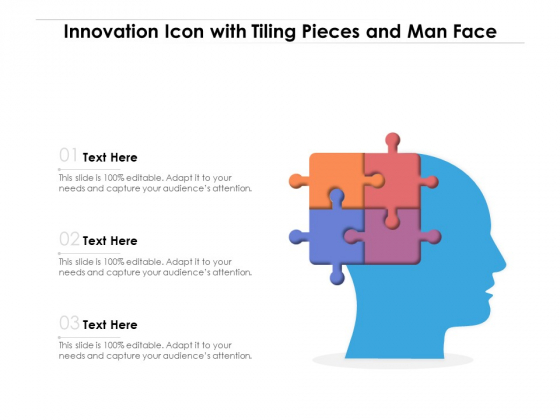 Innovation Icon With Tiling Pieces And Man Face Ppt PowerPoint Presentation Gallery Graphics Template PDF