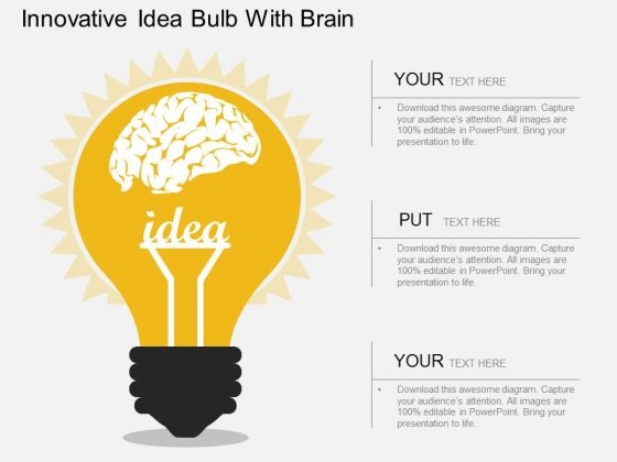 Innovative Idea Bulb With Brain Powerpoint Template Powerpoint