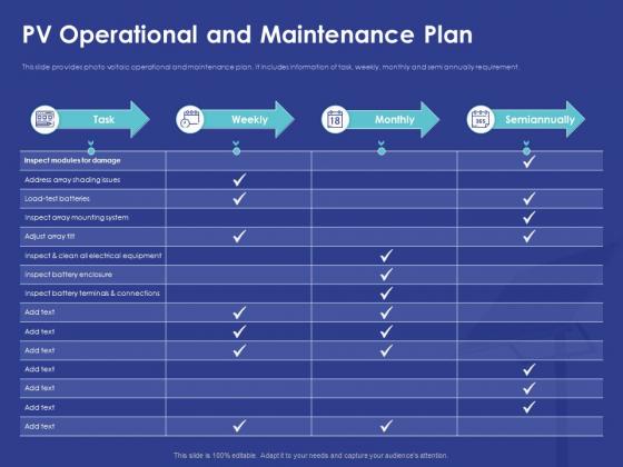 Installing Solar Plant Commercial Building PV Operational And Maintenance Plan Portrait PDF