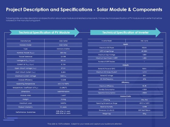 Installing Solar Plant Commercial Building Project Description And Specifications Solar Module And Components Icons PDF