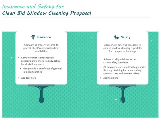Insurance And Safety For Clean Bid Window Cleaning Proposal Ppt Summary Graphics Pictures PDF