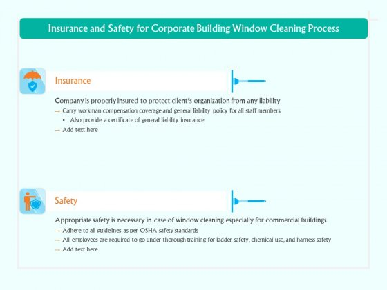 Insurance And Safety For Corporate Building Window Cleaning Process Ppt Outline Inspiration PDF