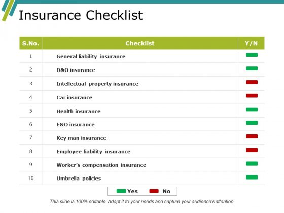 Insurance Checklist Ppt PowerPoint Presentation Show Brochure