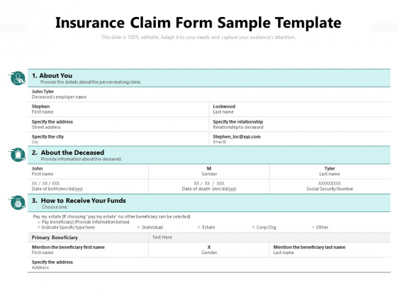 Insurance Claim Form Sample Template Ppt PowerPoint Presentation Summary Outline