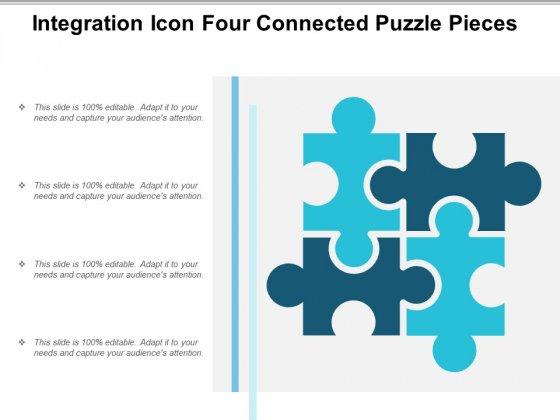 Integration Icon Four Connected Puzzle Pieces Ppt Powerpoint Presentation Summary