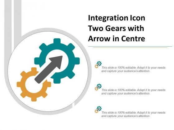 Integration Icon Two Gears With Arrow In Centre Ppt Powerpoint Presentation Gallery Visuals