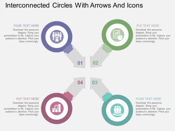 Interconnected Circles With Arrows And Icons Powerpoint Templates
