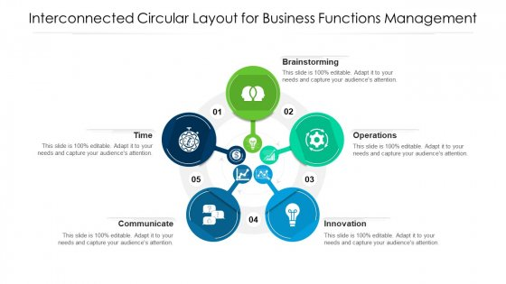 Interconnected Circular Layout For Business Functions Management Ppt Styles Inspiration PDF