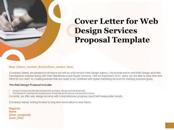 Interface Designing Services Cover Letter For Web Design Services Proposal Template Slides Powerpoint Templates