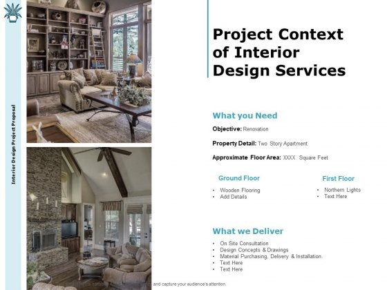Interior Fitting Proposal Project Context Of Interior Design Services Ppt Gallery Slides PDF