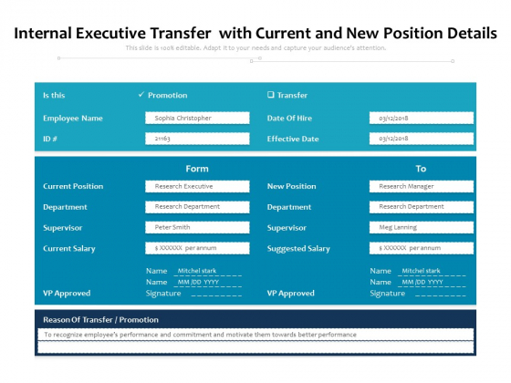 Internal Executive Transfer With Current And New Position Details Ppt PowerPoint Presentation File Graphic Tips PDF