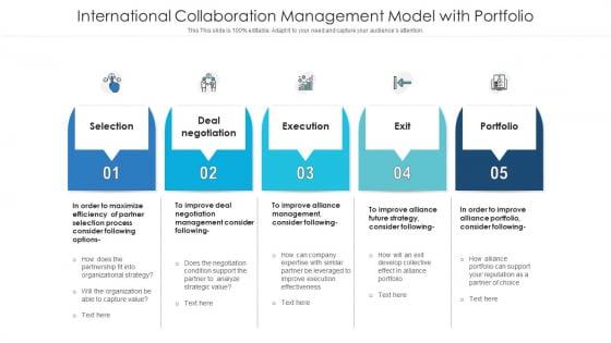 International Collaboration Management Model With Portfolio Clipart PDF