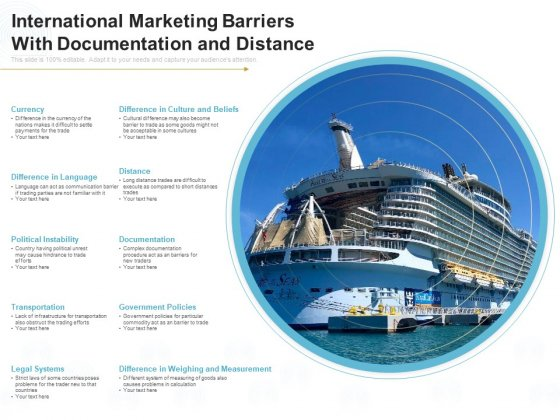 International Marketing Barriers With Documentation And Distance Ppt PowerPoint Presentation Model Samples PDF