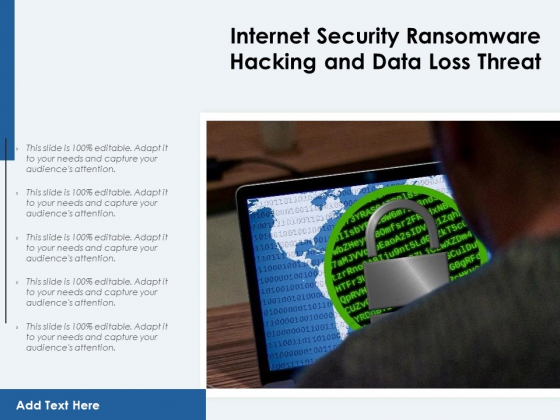 Internet Security Ransomware Hacking And Data Loss Threat Ppt PowerPoint Presentation File Formats PDF
