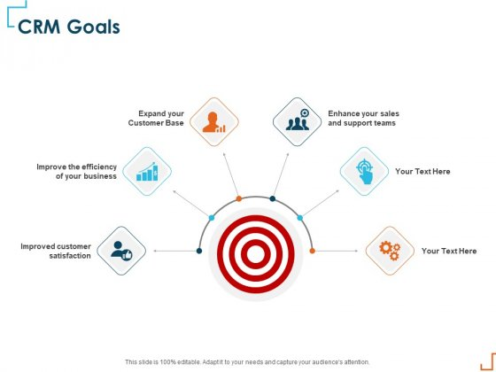Introducing CRM Framework Within Organization CRM Goals Ppt PowerPoint Presentation Pictures Grid PDF