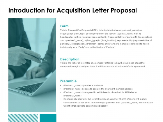 Introduction For Acquisition Letter Proposal Ppt Powerpoint Presentation Ideas Professional