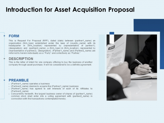 Introduction For Asset Acquisition Proposal Ppt PowerPoint Presentation Ideas Icons