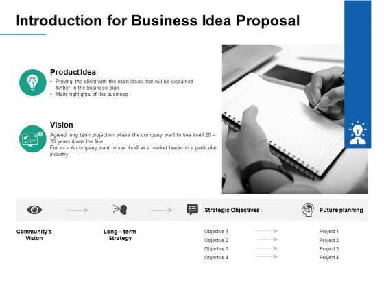 Introduction For Business Idea Proposal Vision Ppt PowerPoint Presentation Summary Example Introduction