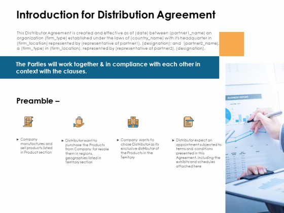 Introduction For Distribution Agreement Preamble Ppt PowerPoint Presentation Model Sample
