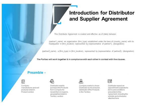 Introduction For Distributor And Supplier Agreement Ppt PowerPoint Presentation Infographics Good