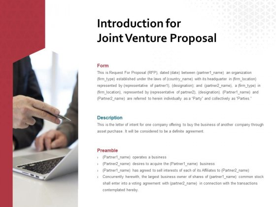 Introduction For Joint Venture Proposal Ppt PowerPoint Presentation Inspiration File Formats
