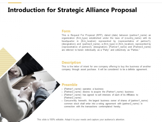 Introduction For Strategic Alliance Proposal Ppt PowerPoint Presentation Summary Deck