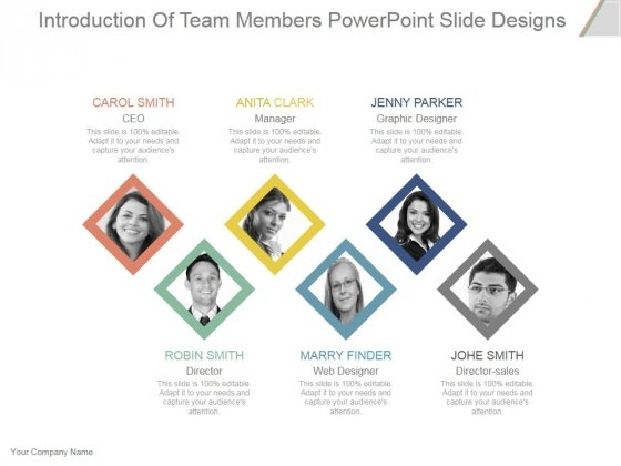 Introduction Of Team Members Ppt PowerPoint Presentation Show