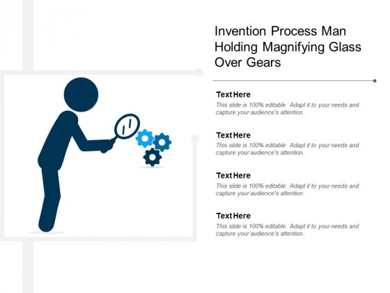 Invention Process Man Holding Magnifying Glass Over Gears Ppt Powerpoint Presentation Layouts Example File