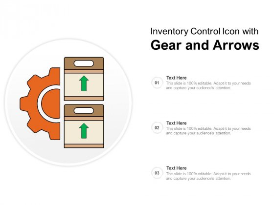 Inventory Control Icon With Gear And Arrows Ppt PowerPoint Presentation Professional Gallery