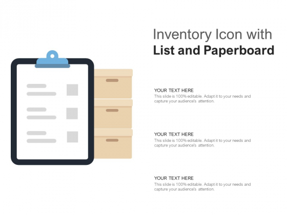 Inventory Icon With List And Paperboard Ppt PowerPoint Presentation Gallery Designs