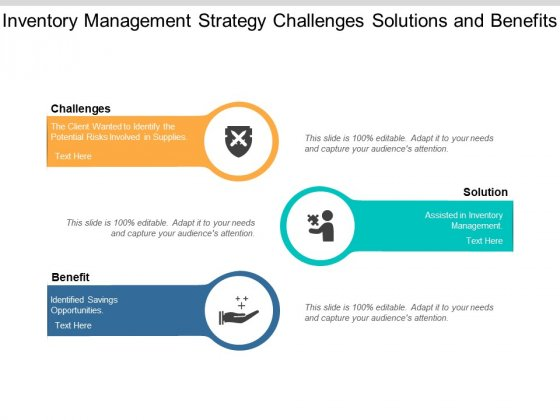 Inventory Management Strategy Challenges Solutions And Benefits Ppt PowerPoint Presentation Slide