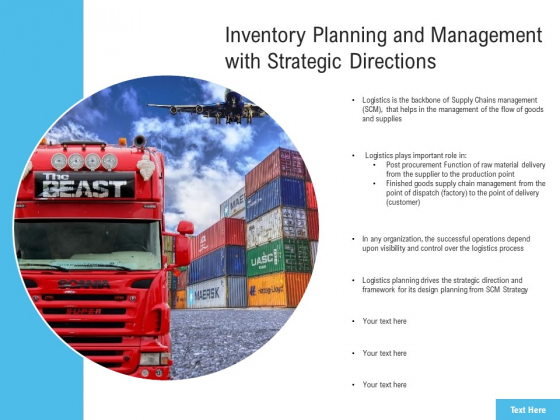 Inventory Planning And Management With Strategic Directions Ppt PowerPoint Presentation Summary Background Images PDF
